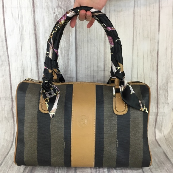 9eeae33fb12e Fendi Handbags - Fendi Vintage Tan Stripe Pequin Canvas Purse Bag